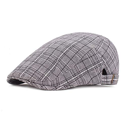 (VISER Cotton Flat Cap Vintage Ivy Golf Summer Casual Fashion Plaid Striped Men's Hat UV Protection Baseball Classic Outdoor Sports European and American Bar Appointment Hat for Men Women)