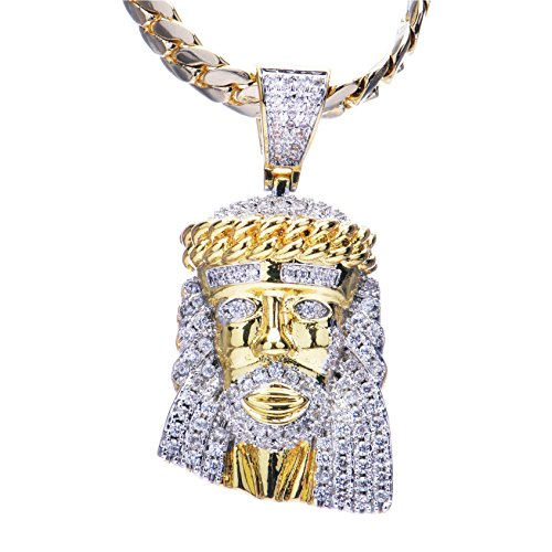 Men's Hip Hop Luxury Iced Out 14kt Gold Plated Mini Jesus Pendant Miami Cuban Chain Set MBP 904 - Diamond Jesus Pendant