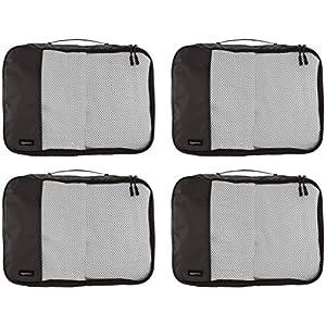 Amazon Basics 4 Piece Packing Travel Organizer Cubes Set – Medium, Black