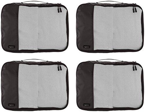 51kjof1S6iL AmazonBasics Packing Cubes/Travel Pouch/Travel Organizer - Medium, Black (4-Piece Set)