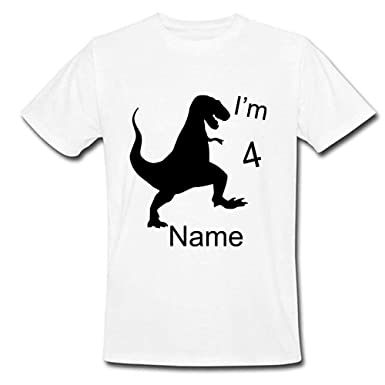 f39b537e Sprinklecart Personalized Name Printed Dinosaur Kids 4th Birthday T-Shirt  for Your Little One (
