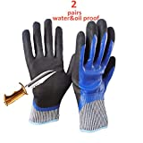 5 Level Cut-Resistant Waterproof Safety Protect Hand Gloves Nitrile and Latex Dual Palm Coated for Gargen work, Industrial production, Glasses handling, Indoor and Outdoor working (L-2pairs)