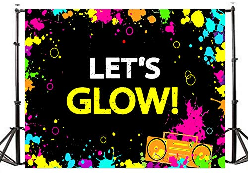 (TMOTN 7x5ft Glow Neon Party Photography Backdrop Let's Glow Splatter Photo Background Vinyl Glowing Party Backdrops Banner Decoration Neon Party Supplies)