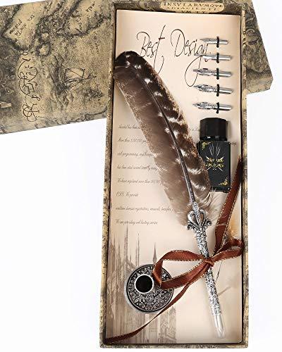 - Calligraphy Quill Pen Ink Set, SunMirror Antique Feather Dip Pen Set Writing Quill Storage Ink Dip Pen Gift Set (Turkey)