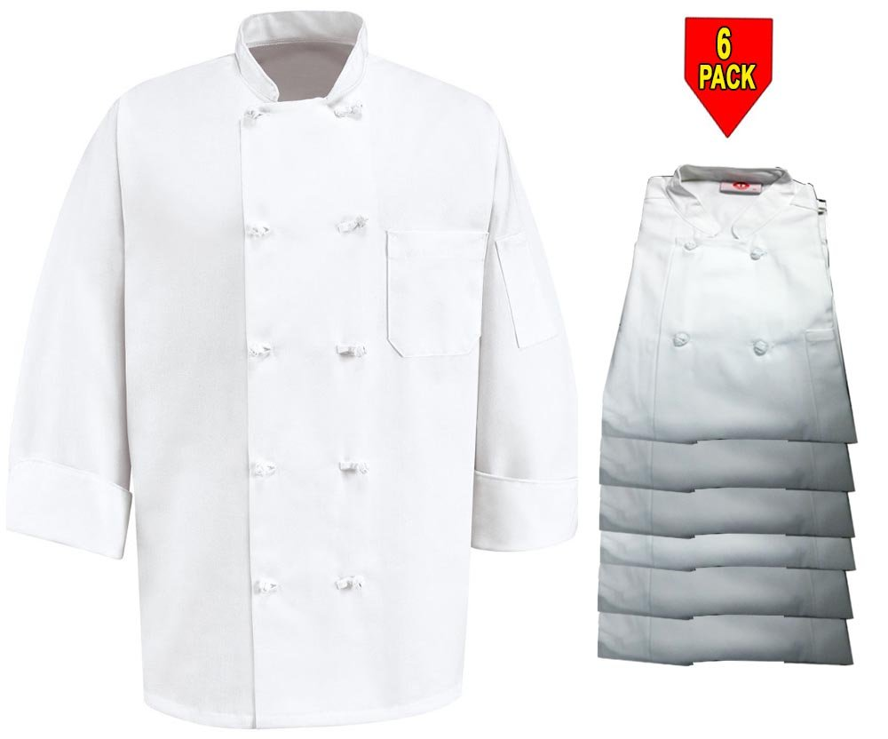 350 Chef Apparel 10 Knot Button Chef Coat-Easy-Care Twill,6 Pack White,Small