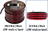 10 Gauge Copper Clad Aluminum 50' Red / 50' Black Bonded Zip Wire (100 feet Total) for Car Audio Video LED Light Amplifier Remote Relay Harness Wiring