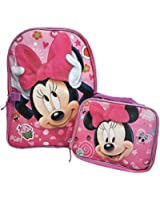 """Disney Minnie Mouse 16"""" Backpack Print Bag plus Matching Lunch Case 2 piece Set"""