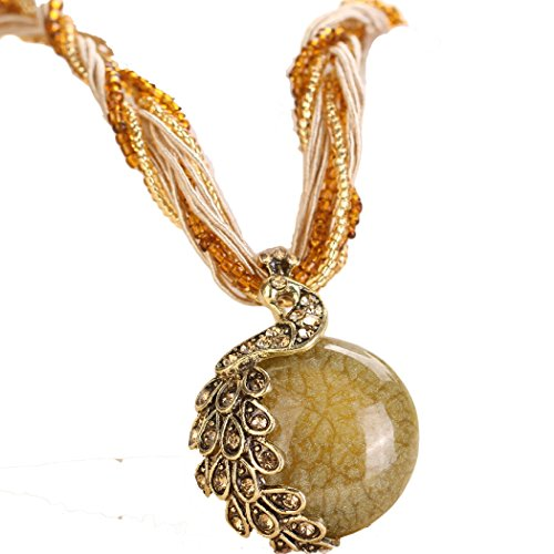 """Dog Brother Womens Girls Adjustable Boho Ethnic Jewelry Retro Alloy Peacock Accessories Pendant Necklace Yellow 18"""""""
