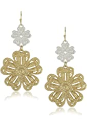 RAIN Silver and Gold Flower Earrings