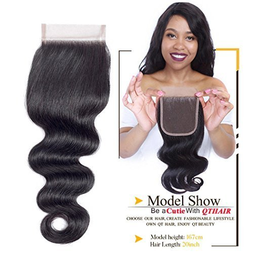 QTHAIR 10A Brazilian Body Wave Lace Closure (14inch) 4x4 Free Part Swiss Lace Closure Natural Black Brazilian Virgin Human Hair Top Swiss Lace Closures by QTHAIR (Image #3)