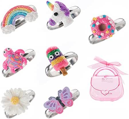 Kids Adjustable Ring Glitter Multi Color Polymer Cute Rings For Girls Handmade Jewelry Set Of 7