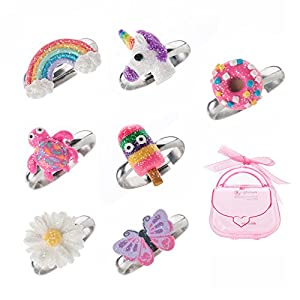 Adjustable Rings Set for Little Girls – Colorful Cute Unicorn, Butterfly Rings for Kids, Children's Jewelry Set