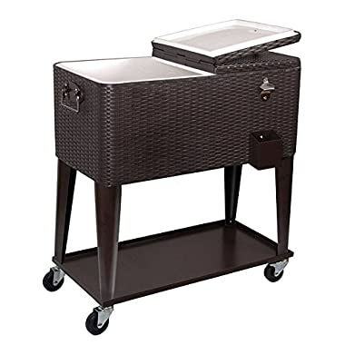 Clevr 80 Qt Outdoor Patio Deck Rolling Ice Chest Cooler Cart, Dark Brown Wicker Faux Rattan Tub | Portable Party Drink Beverage Bar Cold | Wheels with Shelf & Bottle Opener
