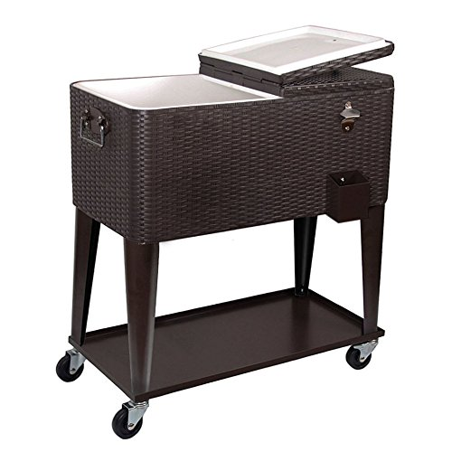 Clevr 80 Qt Outdoor Patio Rolling Ice Chest Cooler Cart, Dark Brown Wicker Faux Rattan | Portable Party Drink Beverage Bar Cold | Wheels with Shelf & Bottle Opener by Clevr