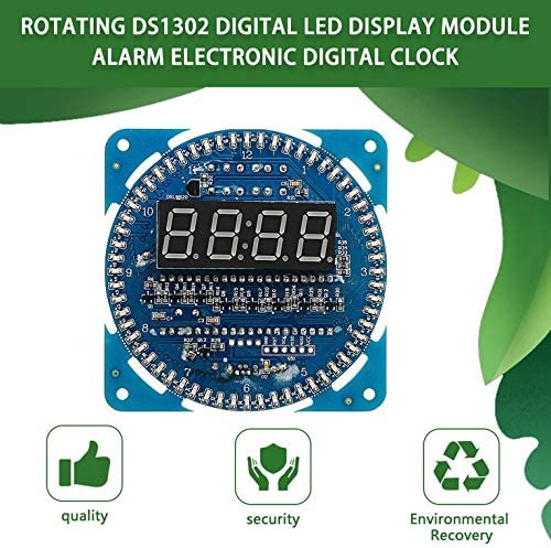 Bleu Goldyqin Rotation DS1302 Digital Module daffichage /à LED Alarme /électronique Horloge num/érique LED Affichage de la temp/érature Kit de Bricolage Learning Board 5V