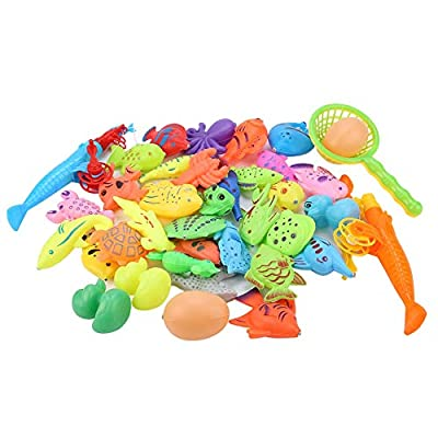 Yinuoday 39PCS Magnetic Fishing Game for Kids, Plastic Magnetic Alphabet Floating Fishing Table Toys with Box Learning Education Toy for Toddlers Boys Girls: Toys & Games