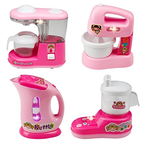 Kids Kitchen Set , Home Mini Appliances, Fajiabao Kitchen Toy Set Household Appliance kitchen Play Set Pretend Food Play for Kids Girls, Set of 4