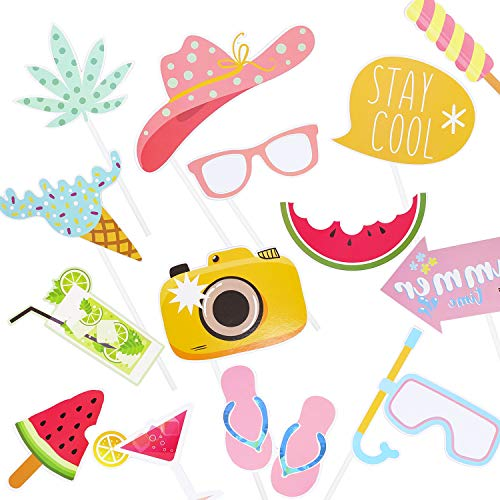 Tropical Luau Photo Booth Props Summer Time Hawaiian Pool Party Supplies Summer Photo Booth Props Kit 14Pcs
