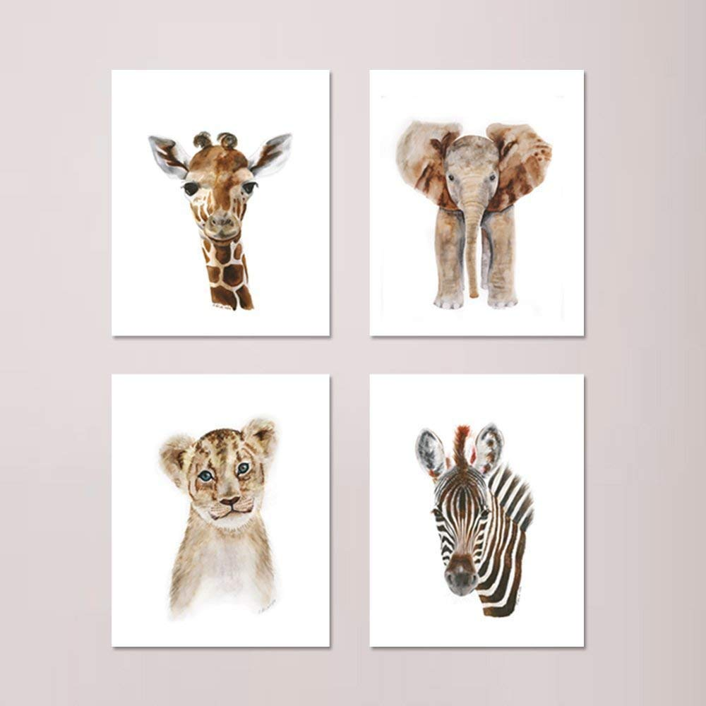 Set of 24 Safari Nursery Prints, Baby Animal Watercolor Portrait, Gender  Neutral Nursery Art, Baby Room Decor: Elephant, Giraffe, Lion and Zebra -