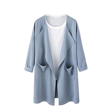059aa3132fe6c Cardigan Femme Printemps Automne Élégant Long Manches Ouvert Jacken  Vêtements Baggy Unicolore Loisir Legere Grande Taille