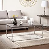 Southern Enterprises Glynn Coffee Cocktail Table, Sun Bleached Gray with Chrome Finish