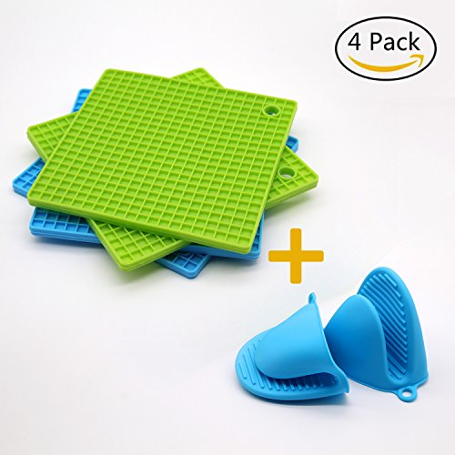 Antelope shop Silicone Pot Holder, Trivet Mat,Spoon Rest,Jar Opener & Coasters,Non-slip, Insulation, Durable, Flexible Trivet for Table Kitchen(2 Blue & 2Green) by Antelope shop