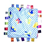 J&C Family Owned Little Tag Baby Sensory, Security & Teething Closed Ribbon Style Colors Security Comforting Teether Blanket - Blue Vehicle Theme