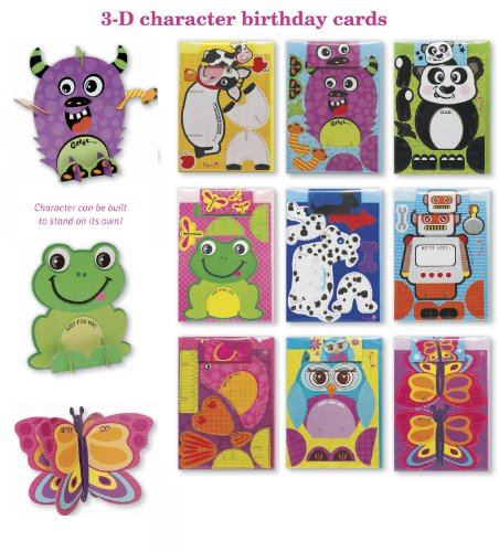 Assorted 3D Birthday Cards for Kids Box Set, 9 Pack Card Set Assortment for Children - Boys & Girls