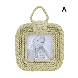 myonly Creative Alarm Clock American Country Style Hemp Rope Photo Frame Living Room Photo Wall Hanging Painting