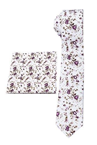 Kingdom Secret 100% Cotton Handmade Skinny Floral Necktie with Pocket Square Gift Set Men's Neat Necktie by Chinawind (2 Different Designs) …