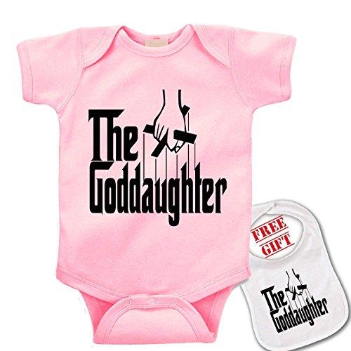 """ The Goddaughter"" cute custom Baby bodysuit onesie by Igloo & matching bib -007"