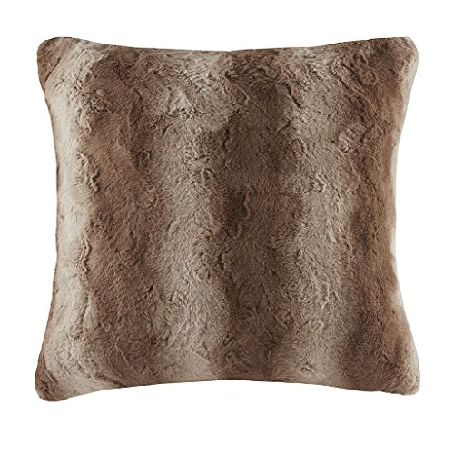 Madison Park Zuri Faux Fur Euro Pillow Tan 25x25''