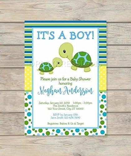 Amazon Com Turtle Baby Shower Invitation Baby Boy Cute Mod