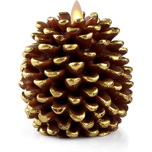 Luminara LED Flameless Candle, Flameless Real Pine Cone LED Candles for Home/Party/Halloween/Christmas/Wedding Decor with Timer Control, Battery Operated 3 x 4.2(Brown)
