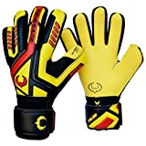 Renegade GK Talon Ignite Level 2 Negative Cut Goalkeeper Gloves Youth with Fingersaves - Goalkeeper Gloves Size 5 - Soccer Goalie Gloves Kids - Goalkeeper Gloves for Kids - Black, Yellow, Red