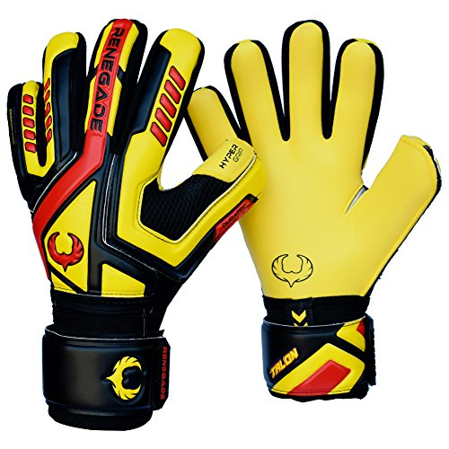 Renegade GK Talon Ignite Negative Cut Level 2 Soccer Goalkeeper Gloves Adults & Youth with Fingersaves - Grass & Turf Goalie Gloves Size 9 - Women & Mens Soccer Goalie Gloves - Black, Yellow, Red