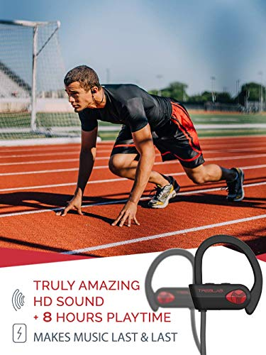 TREBLAB XR500 Bluetooth Headphones, Best Wireless Earbuds for Sports, Running or Gym Workout. 2018 Updated Version. IPX7 Waterproof, Sweatproof, Secure-Fit Headset. Noise Cancelling Earphones w/Mic by Treblab (Image #2)