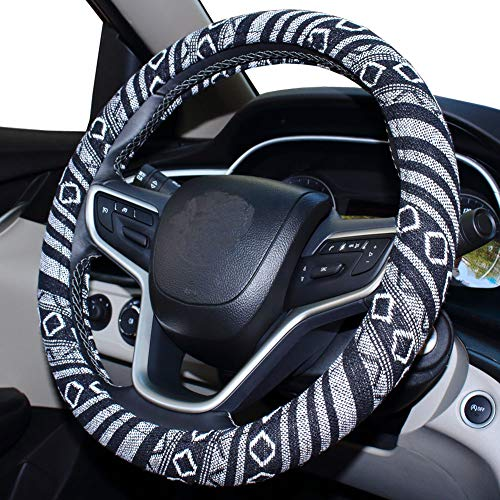 SHIAWASENA Car Steering Wheel Cover, Coarse Flax Cloth, Ethnic Style, Universal 15 Inch Fit, Anti-Slip Sweat-Absorbent (E#)
