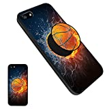 iPhone 5/5S/SE Basketball Case, Personalized Soft TPU Rubber Gel [Anti Scratch] Cover Case with Pop Mount Stand [Shock Absorption] for iPhone 5/5S/SE - Basketball08