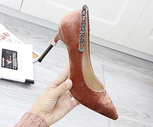 Arbeit Dem Feine Lady Eine Diamant 35 Mit Feder Pumps Wildleder Elegant Schuhe 8 MDRW Match Cm All Freizeit Rosa Eqw1En67