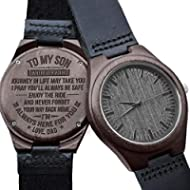 [Sponsored]Engraved Wooden Watch for Men,Natural Wooden Groomsmen Watch for Husband Son Natural...