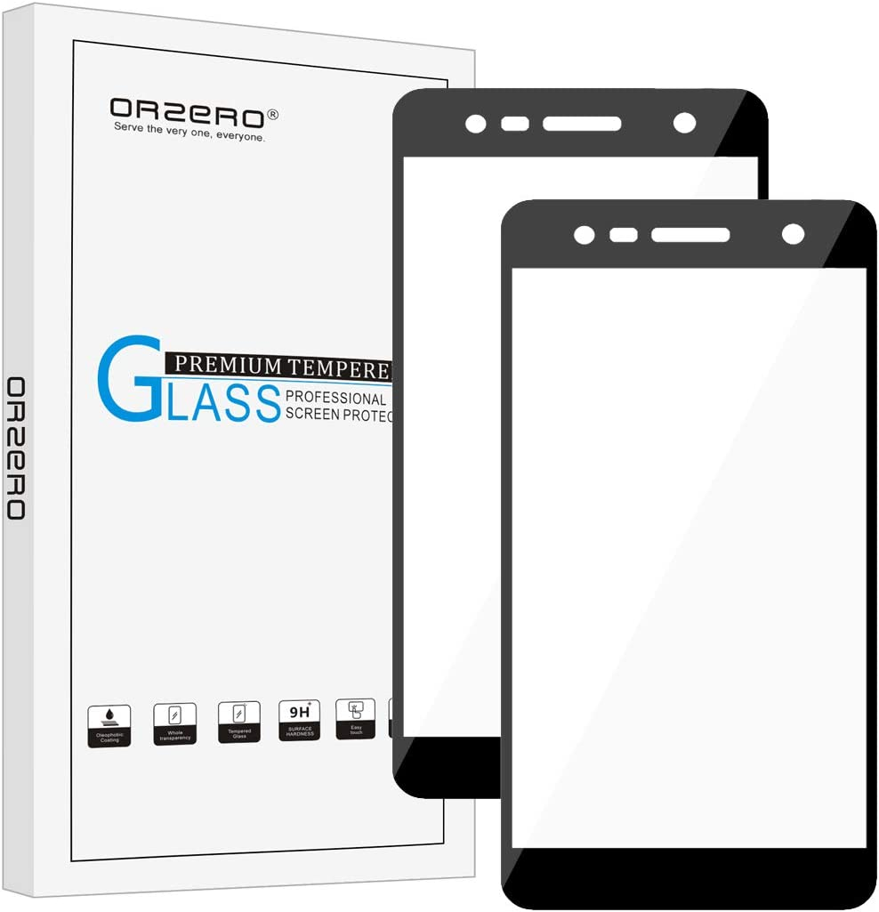 (2 Pack)Orzero Compatible for LG X Charge, LG Fiesta LTE, LG K10 Power, LG X Power 2 (Full Coverage) Tempered Glass Screen Protector, 2.5D Arc Edges 9 Hardness HD (Lifetime Replacement Warranty)-Black