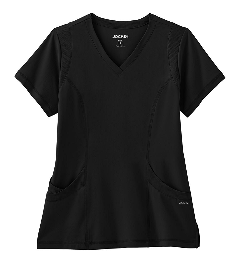 Modern Fit Collection By Jockey Women's Mesh Trim V-Neck Solid Scrub Top X-Large Black