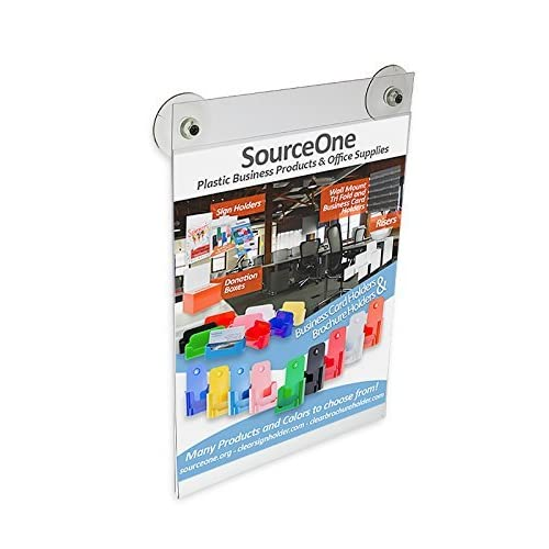 Source One 5 x 7 Inches Sign Holder Glass Window Mount with 2 Suction Cups (S1-57glass)