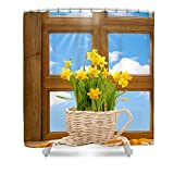Pixels Shower Curtain (74'' x 71'') ''Spring Window''