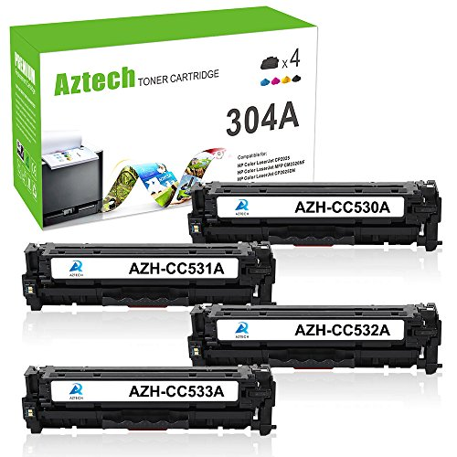 Hp Cc531a Cyan Toner (Aztech 4 Pack Replaces 304A CC530A CC531A CC532A CC533A Black Cyan Yellow Magenta Toner Cartridges For Color LaserJet CP2025DN CP2025N CM2320NF MFP CM2320FXI MFP)