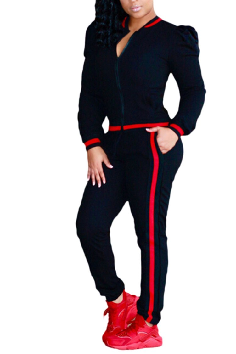 Selowin Fashion Women's Puff 2PCS Outfits Striped Side Sweatsuits Set Black L