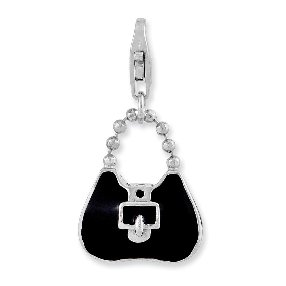 14mm x 28mm Jewel Tie Sterling Silver 3-D Enameled Purse with Lobster Clasp Pendant Charm