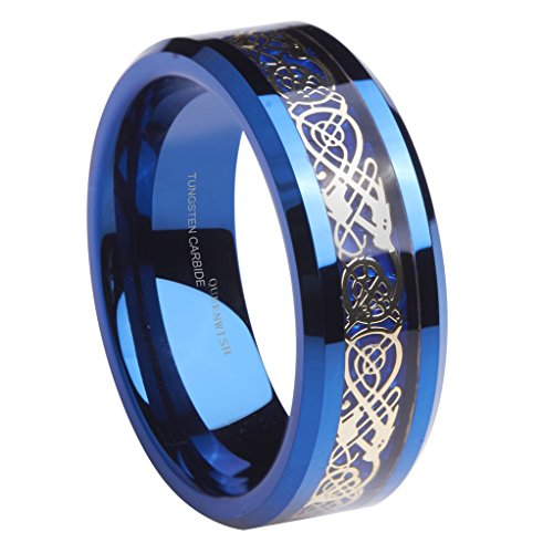 - Queenwish 8mm Blue Tungsten Wedding Bands Gold-Plated Celtic Dragon Blue Carbon Fibre Inlay Promise Rings Mens Jewelry Size 11.5