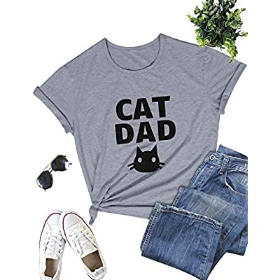 Cat shirt ZJP Women Casual Cat Shirts Tee Short Sleeve Graphic Print T-Shirt Solid Color Tee Tops [tag]